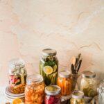 Many types of vegan fermented foods.